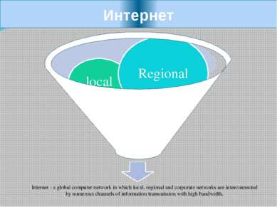 Интернет local Regional Internet - a global computer network in which local, ...