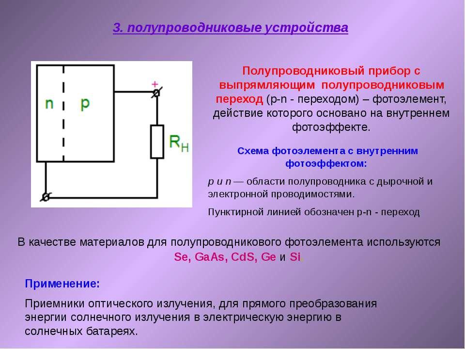 3. полупроводниковые устройства Схема фотоэлемента с внутренним фотоэффектом:...