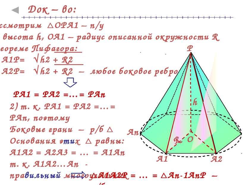 Док – во: 2) т. к. РА1 = РА2 =…= РАn, поэтому Боковые грани – р/б Основания э...