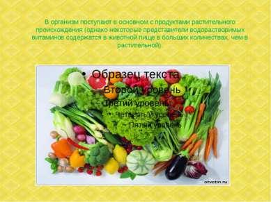 В организм поступают в основном с продуктами растительного происхождения (одн...