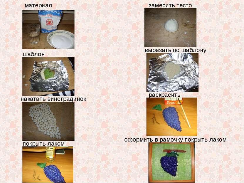 материал замесить тесто шаблон вырезать по шаблону накатать виноградинок раск...