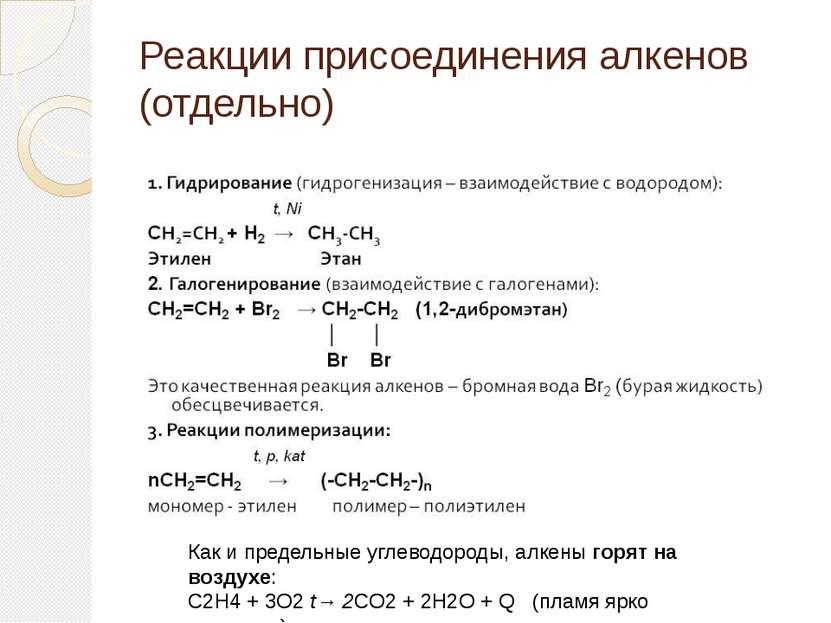 Как и предельные углеводороды, алкеныгорят на воздухе: C2H4+ 3O2t→ 2CO2+ ...