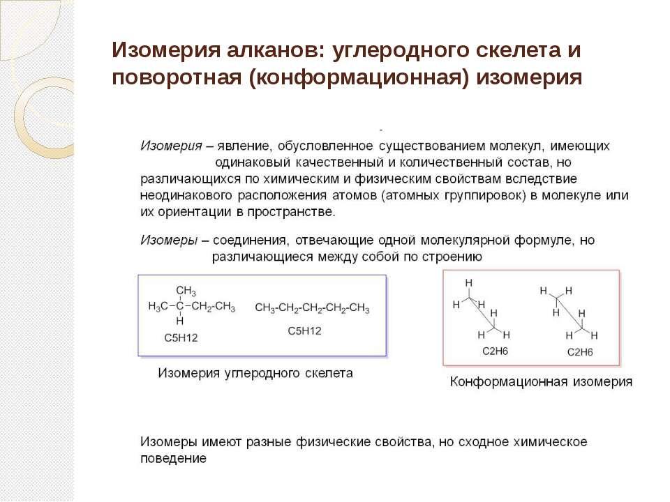 Изомерия алканов: углеродного скелета и поворотная (конформационная) изомерия