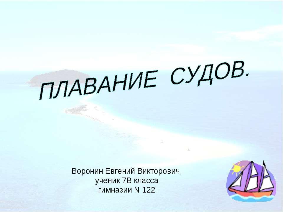 Воронин Евгений Викторович, ученик 7В класса гимназии N 122.
