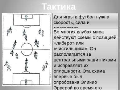 Тактика Для игры в футбол нужна скорость, сила и мастерство. Во многих клуба...