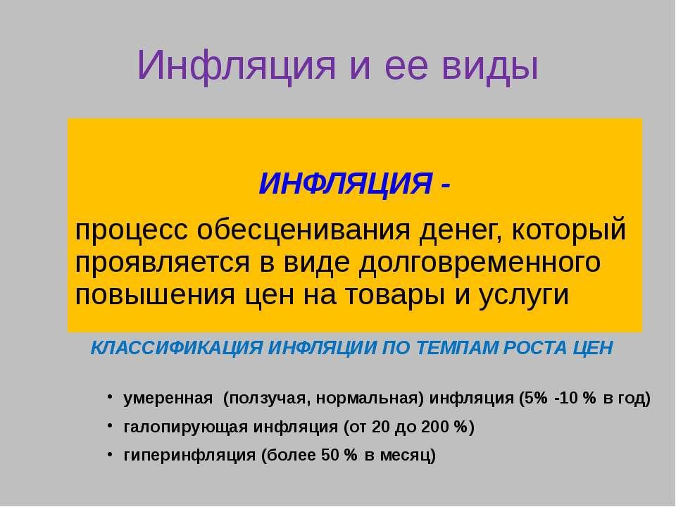 Инфляция и ее виды ИНФЛЯЦИЯ - процесс обесценивания денег, который проявляетс...