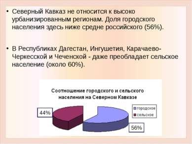 Северный Кавказ не относится к высоко урбанизированным регионам. Доля городск...
