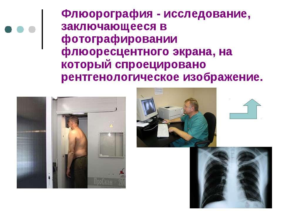 Флюорография - исследование, заключающееся в фотографировании флюоресцентного...