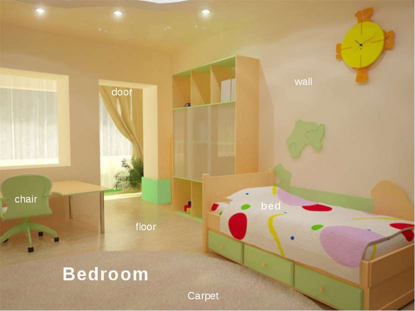 Bedroom bed door chair Carpet floor wall