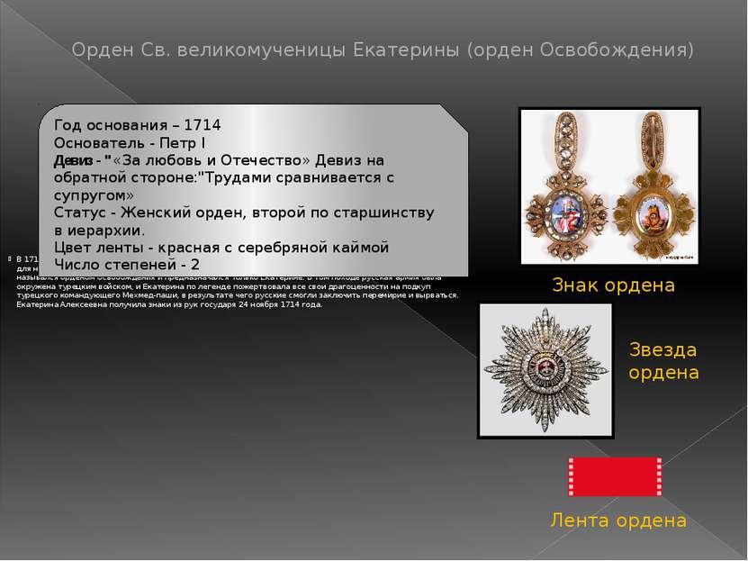 1725 годуорден Св. Екатерины имели, кроме Екатерины I, две её и Петра I доч...