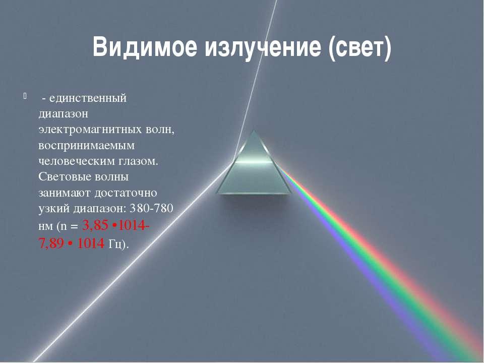 Видимое излучение (свет) - единственный диапазон электромагнитных волн, восп...