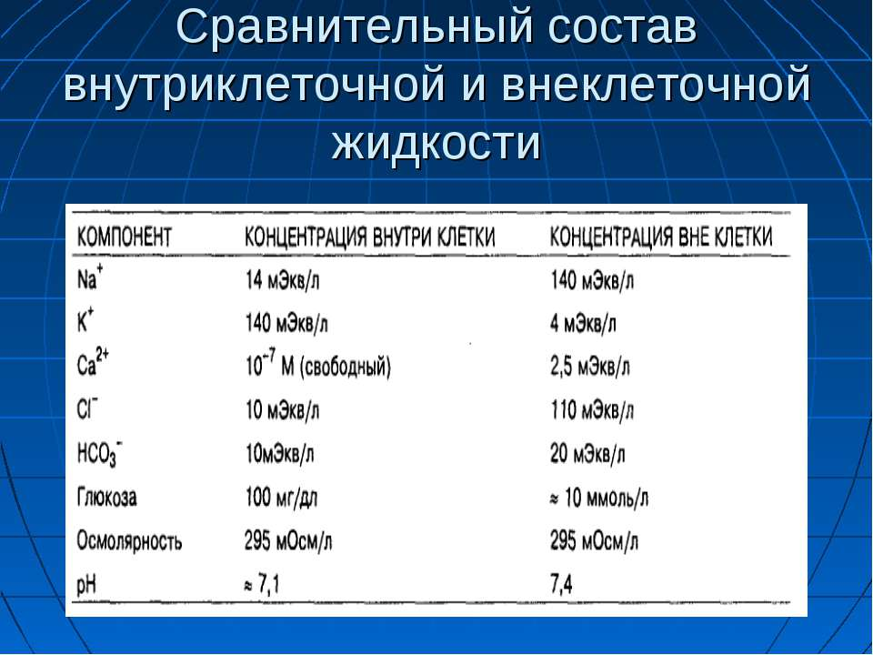 Сравнительный состав внутриклеточной и внеклеточной жидкости