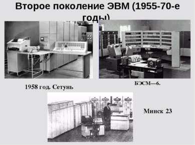 Второе поколение ЭВМ (1955-70-е годы) 1958 год. Сетунь БЭСМ—6. Минск 23
