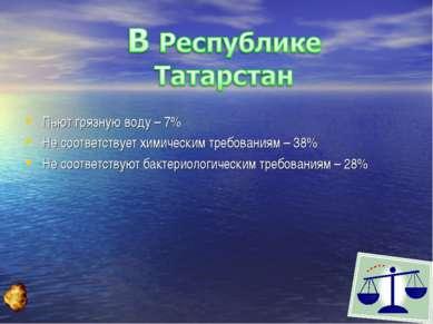 Пьют грязную воду – 7% Не соответствует химическим требованиям – 38% Не соотв...