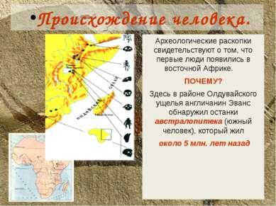 Происхождение человека. Археологические раскопки свидетельствуют о том, что п...