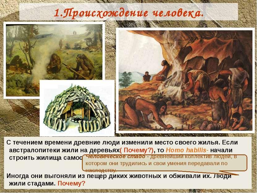 1.Происхождение человека. С течением времени древние люди изменили место свое...