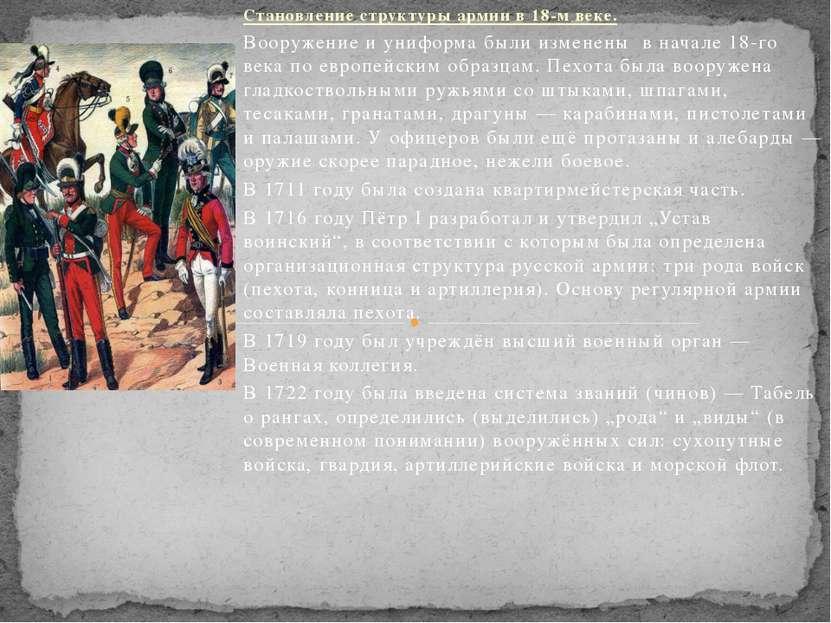 Становление структуры армии в 18-м веке. Вооружение и униформа были изменены ...
