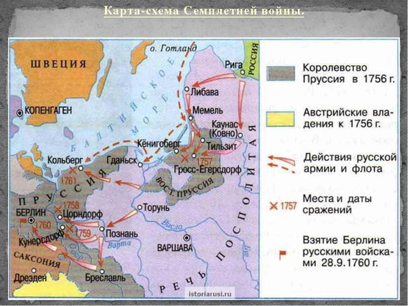 Карта-схема Семилетней войны.