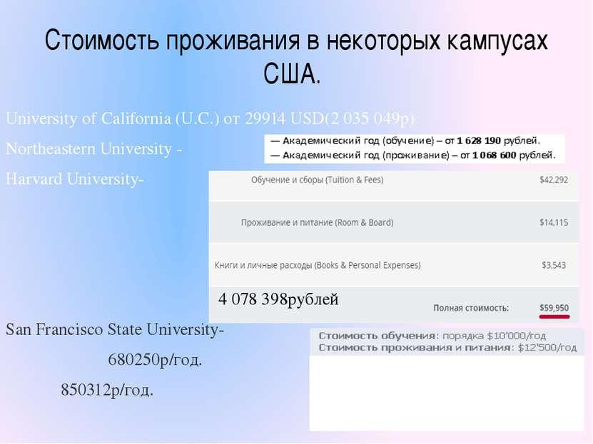 Стоимость проживания в некоторых кампусах США. University of California (U.C...