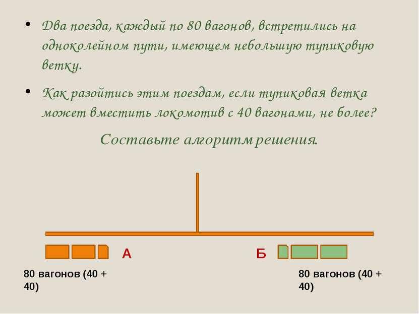 Два поезда, каждый по 80 вагонов, встретились на одноколейном пути, имеющем н...