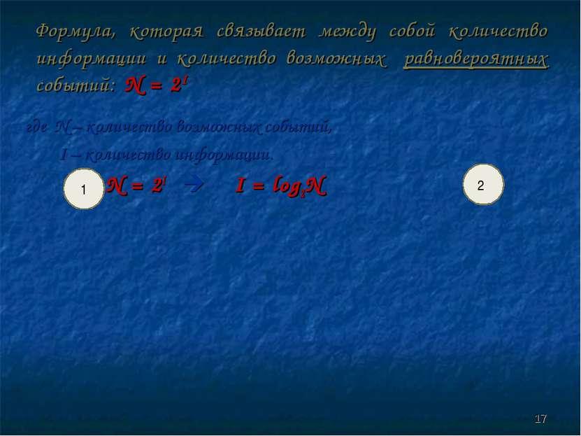 Формула, которая связывает между собой количество информации и количество воз...