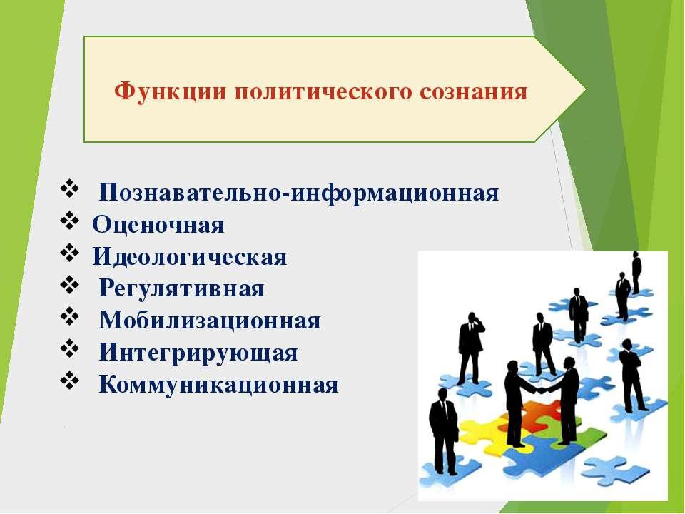 Функции политического сознания Познавательно-информационная Оценочная Идеолог...
