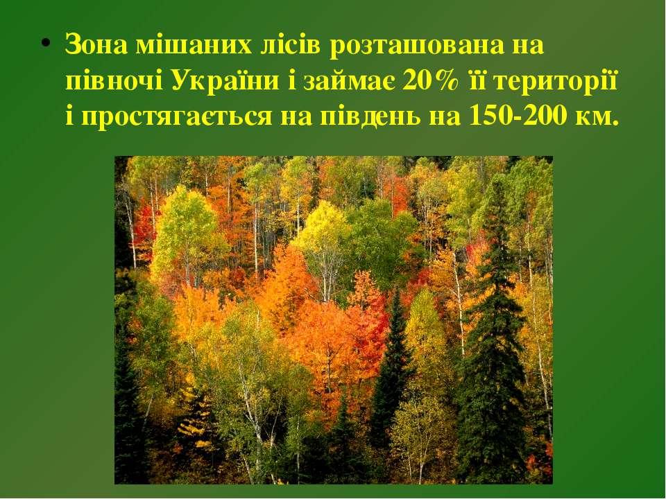 Зона мішаних лісів розташована на півночі України і займає 20% її території і...