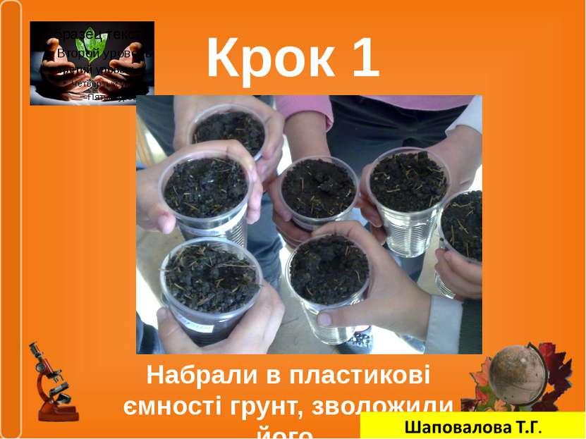 Крок 1 Набрали в пластикові ємності грунт, зволожили його
