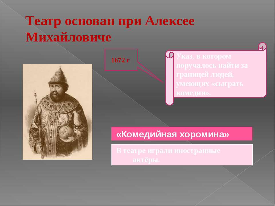 1672 г «Комедийная хоромина» В театре играли иностранные актёры. Указ, в кото...