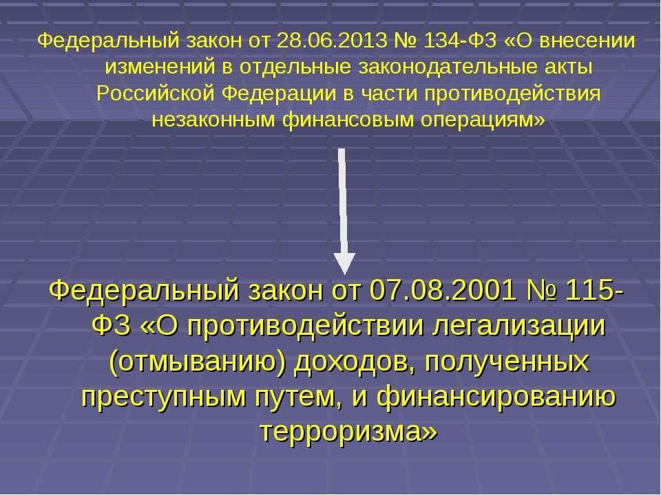 Федеральный закон от 07.08.2001 № 115-ФЗ «О противодействии легализации (отмы...