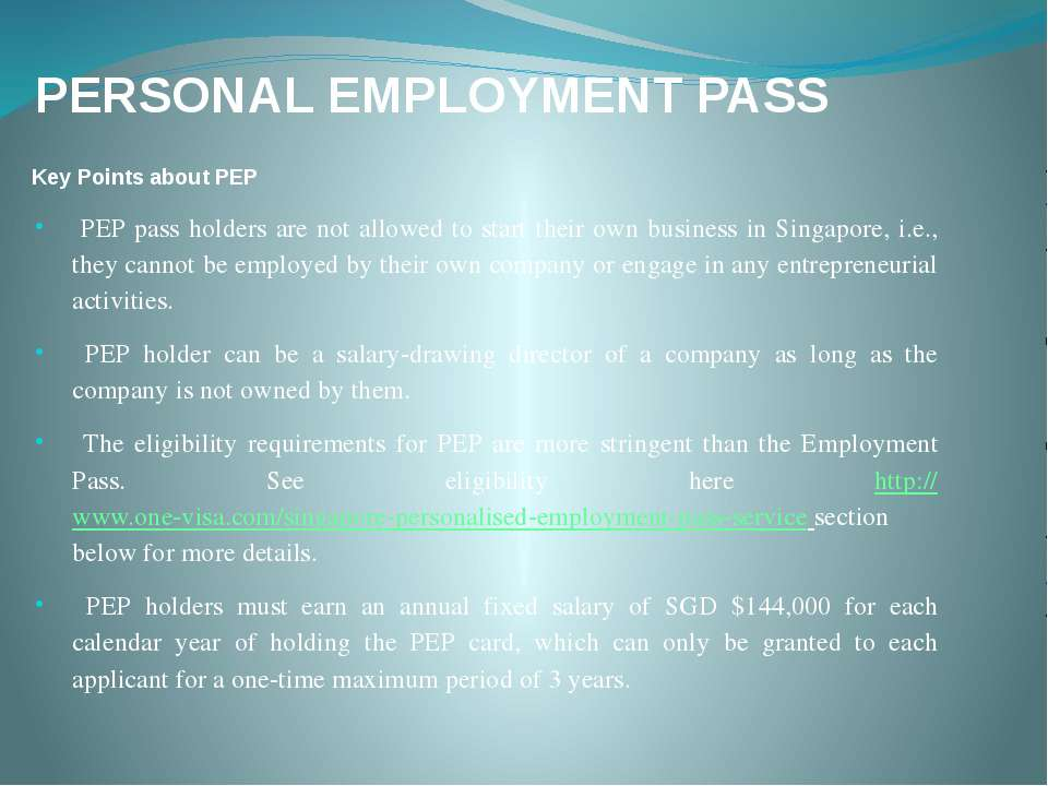 PERSONAL EMPLOYMENT PASS Key Points about PEP PEP pass holders are not allowe...