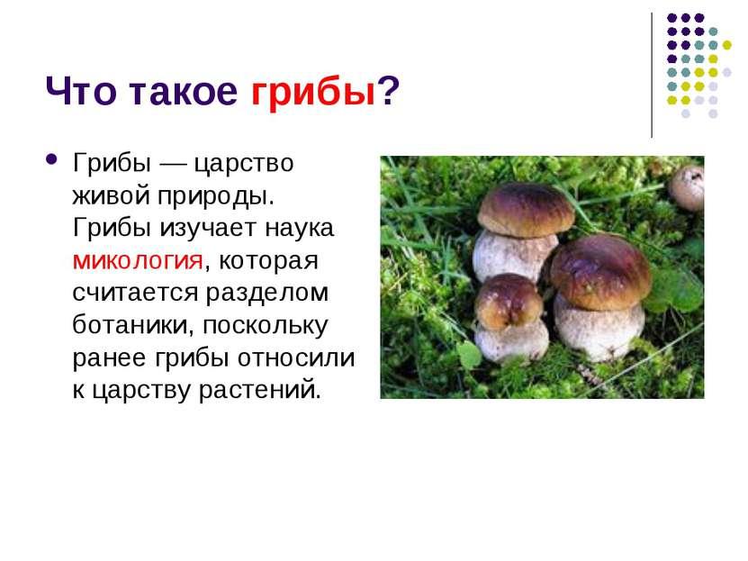 Что такое грибы? Грибы — царство живой природы. Грибы изучает наука микология...