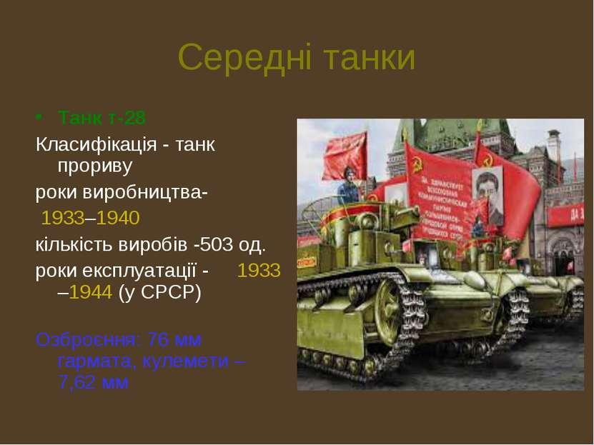 Середні танки Танк т-28 Класифікація - танк прориву роки виробництва- 1933–19...