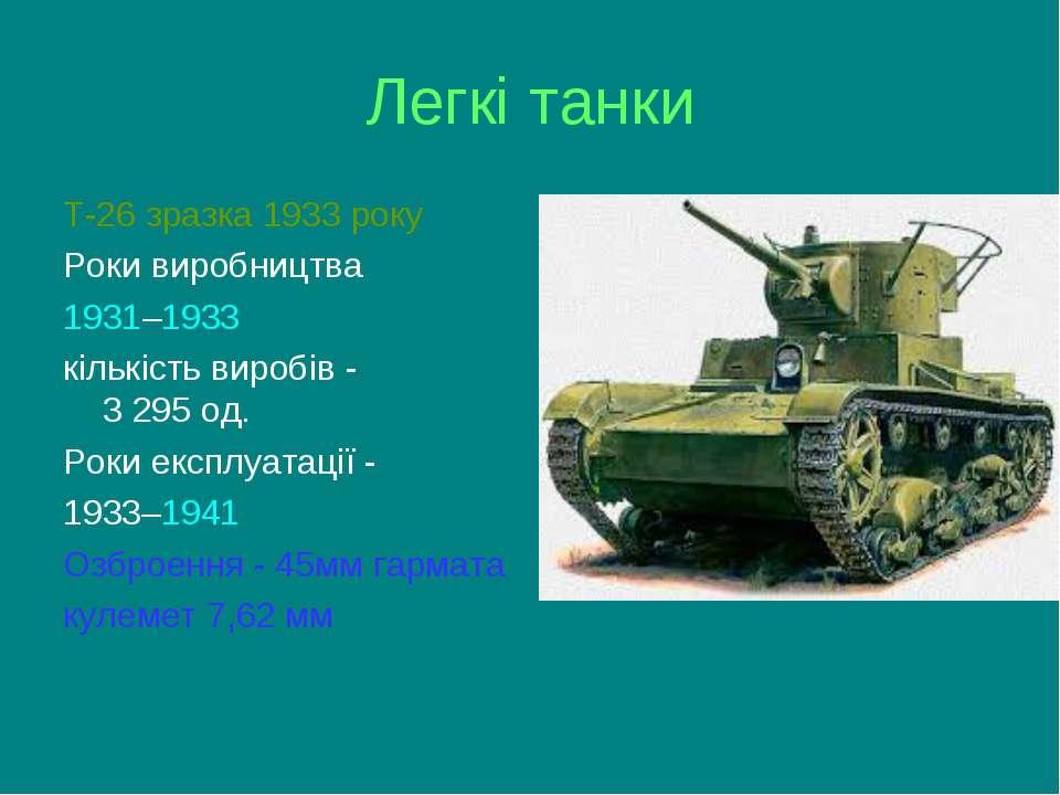 Легкі танки Т-26 зразка 1933 року Роки виробництва 1931–1933 кількість виробі...