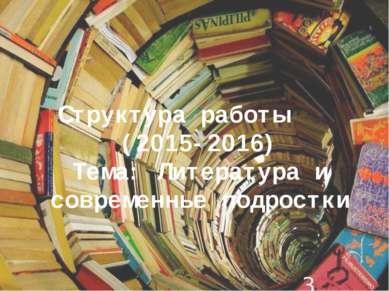 Структура работы (2015-2016) Тема: Литература и современные подростки