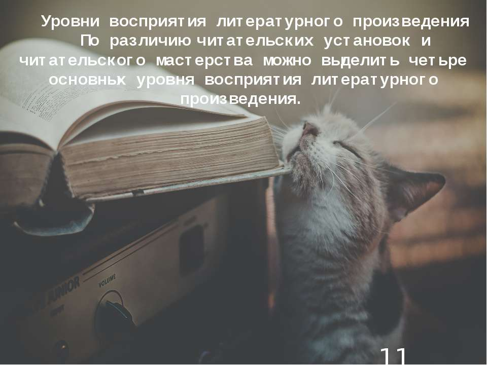 Уровни восприятия литературного произведения По различию читательских установ...