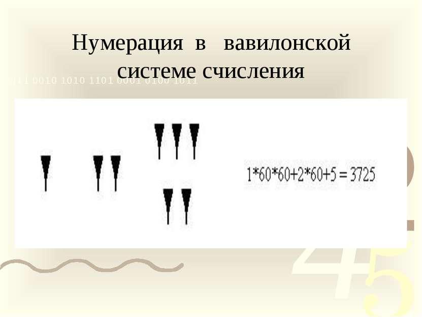Нумерация в вавилонской системе счисления