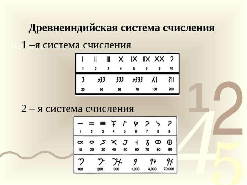 Древнеиндийская система счисления 1 –я система счисления 2 – я система счисления