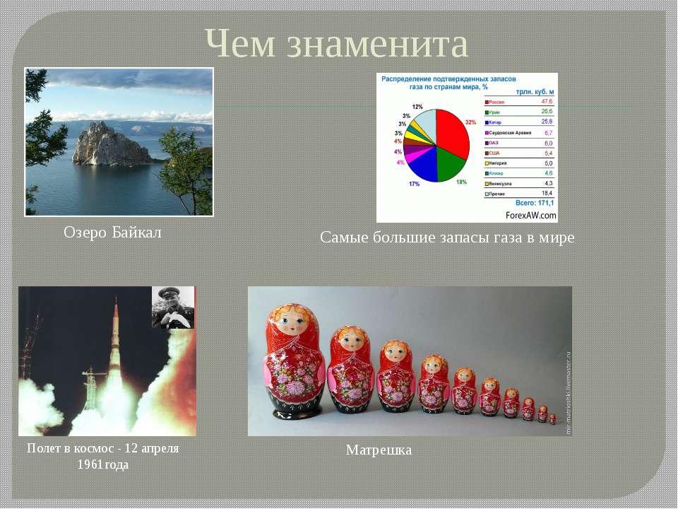 Чем знаменита Полет в космос - 12 апреля 1961года Матрешка Озеро Байкал Самые...