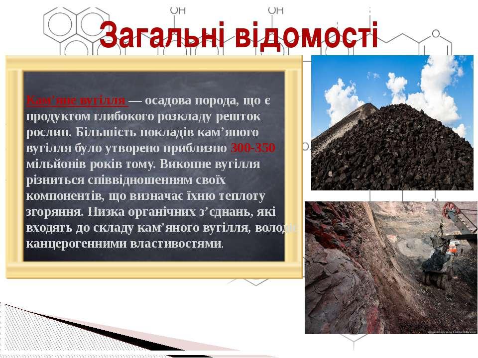 Кам'яне вугілля — осадова порода, що є продуктом глибокого розкладу решток ро...