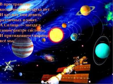 В пространстве космическом воздуха нет И кружат там девять различных планет. ...