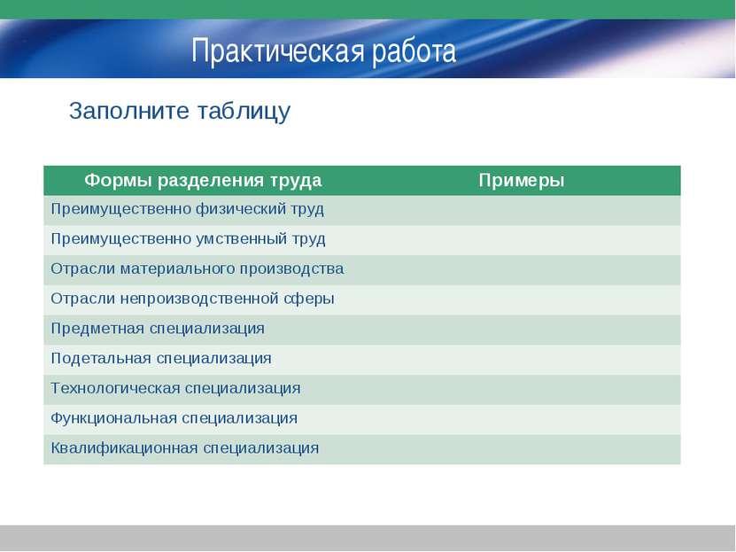 Практическая работа Заполните таблицу Формы разделения труда Примеры Преимуще...