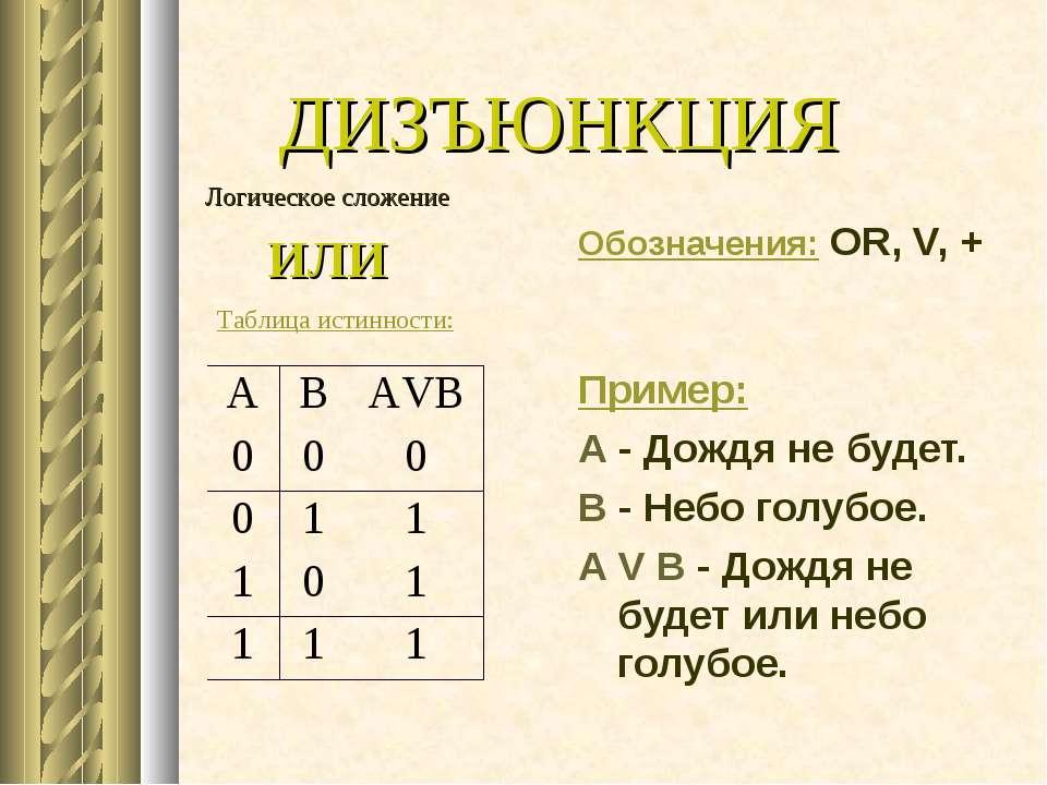 ДИЗЪЮНКЦИЯ Обозначения: OR, V, + Пример: А - Дождя не будет. В - Небо голубое...