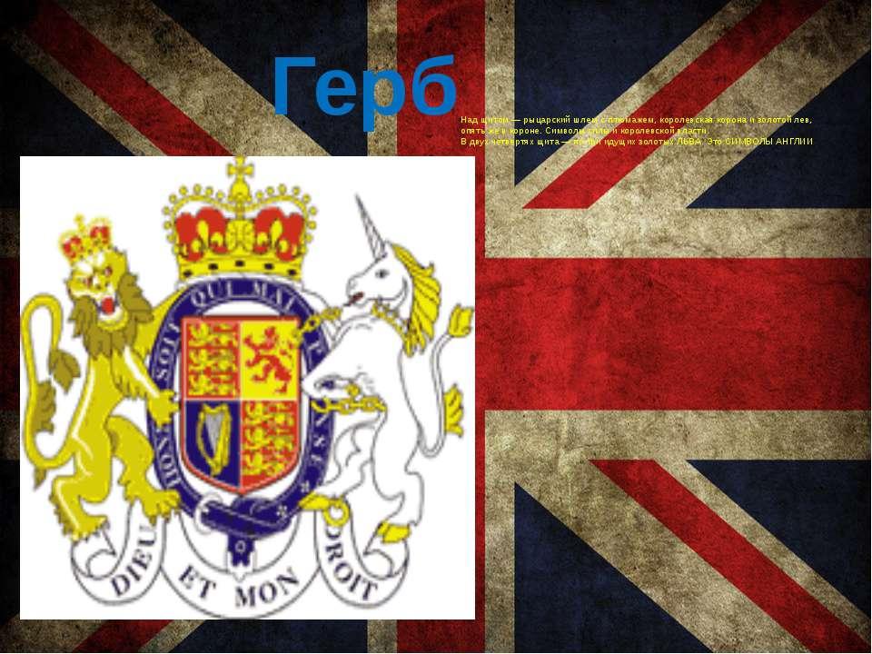 Герб Над щитом — рыцарский шлем с плюмажем, королевская корона и золотой лев,...