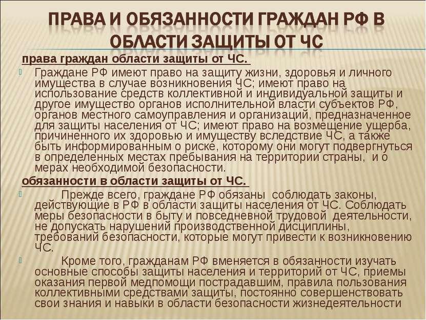 права граждан области защиты от ЧС. Граждане РФ имеют право на защиту жизни, ...