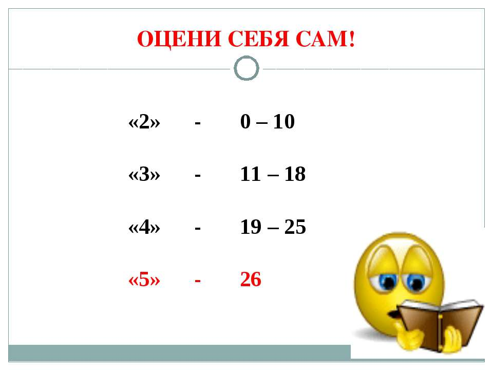 ОЦЕНИ СЕБЯ САМ! «2» - 0 – 10 «3» - 11 – 18 «4» - 19 – 25 «5» - 26