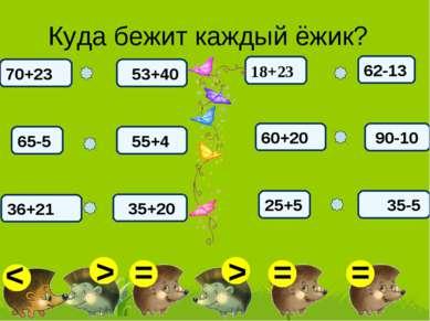 Куда бежит каждый ёжик? 53+40 65-5 55+4 36+21 70+23 35+20 62-13 60+20 90-10 2...