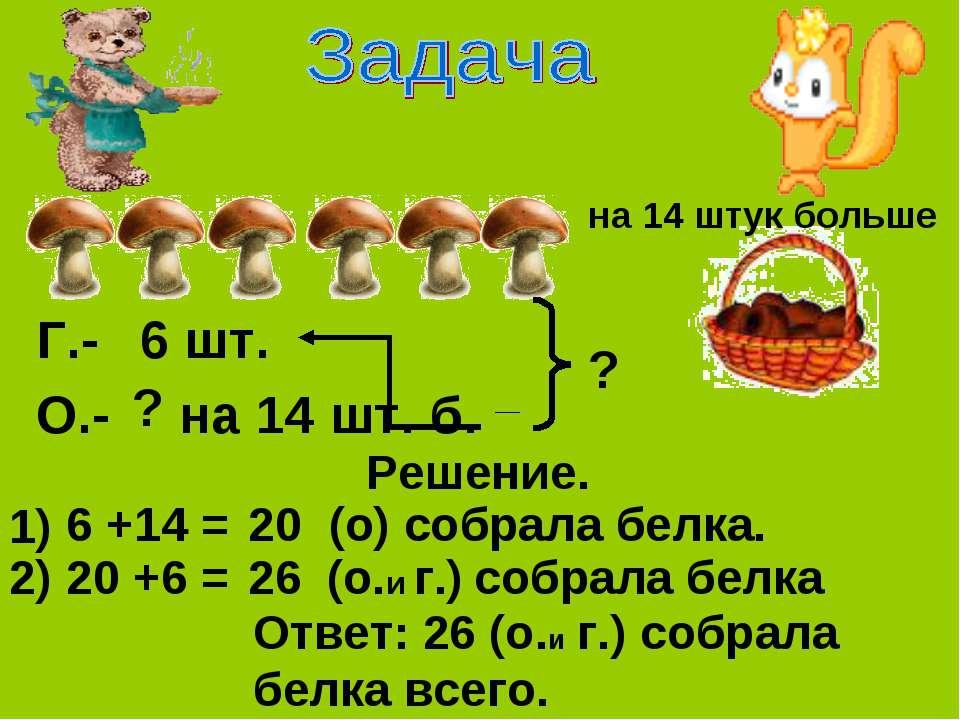 на 14 штук больше Г.- 6 шт. ? на 14 шт. б. ? О.- Решение. 1) 6 +14 = (о) собр...