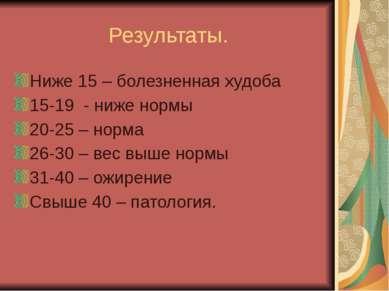 Результаты. Ниже 15 – болезненная худоба 15-19 - ниже нормы 20-25 – норма 26-...