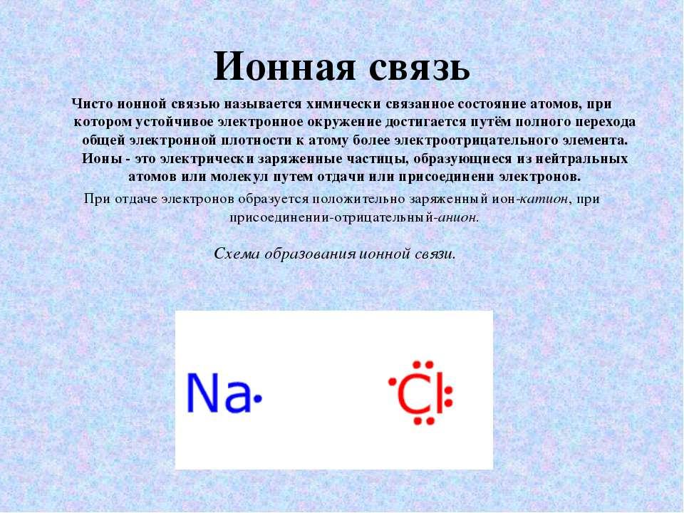 Ионная связь Чисто ионной связью называется химически связанное состояние ато...